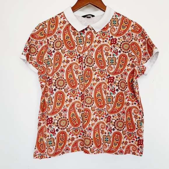 Land's End Tops - Land's End Orange Paisley Polo Shirt Sleeve Shirt